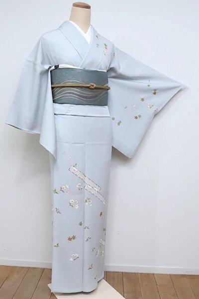 銀座【B-2588】(S)単衣 染一ッ紋 訪問着 白花色 蔓花に筏の図