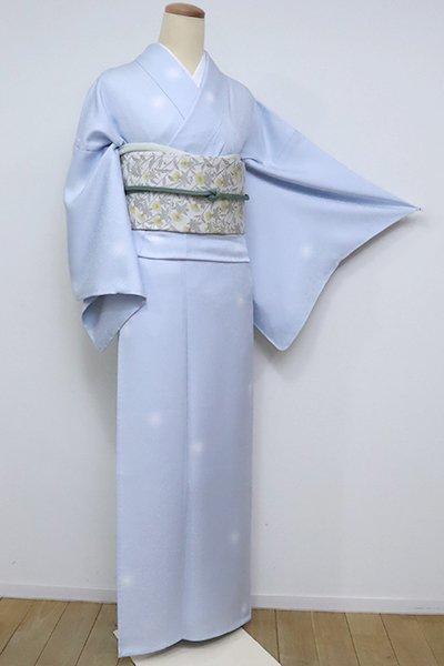 銀座【D-2516】単衣 小紋 淡い青藤色 蛍暈かし(反端付)(N)