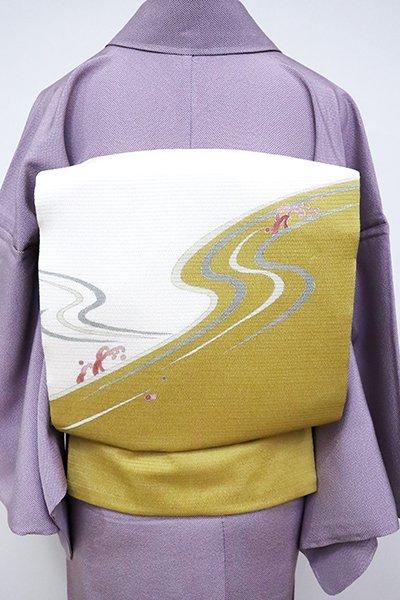 銀座【K-6779】絽縮緬 染名古屋帯 白色×山吹茶色 流水文