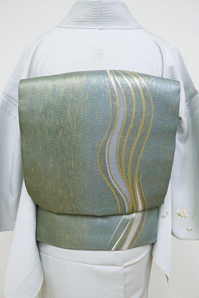 銀座【L-5099】竪絽 袋帯 青鈍色 流線文