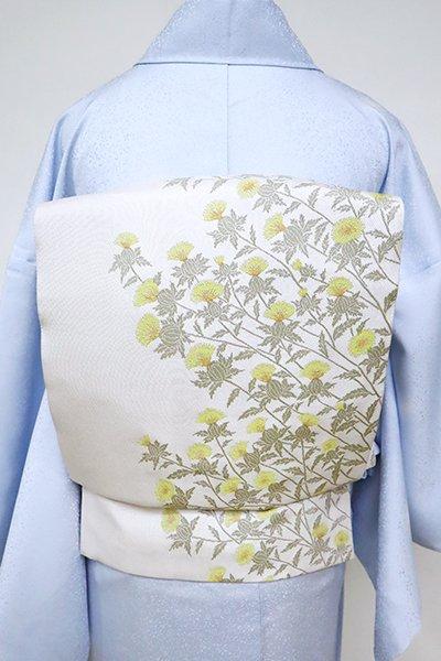 銀座【L-5100】米沢 白根澤製 洒落袋帯 白練色 紅花の図(反端付)