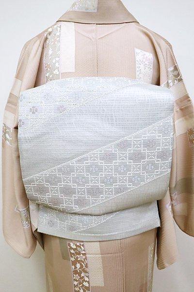 銀座【L-5101】夏袋帯 白鼠色 装飾文の斜め段