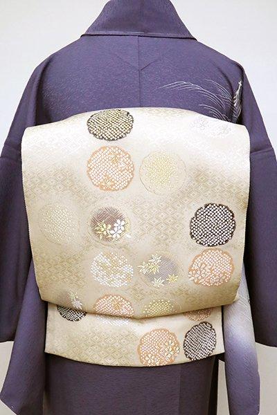 銀座【L-5102】西陣 加納幸製 袋帯 白橡色 雪輪に桜楓文(落款入)