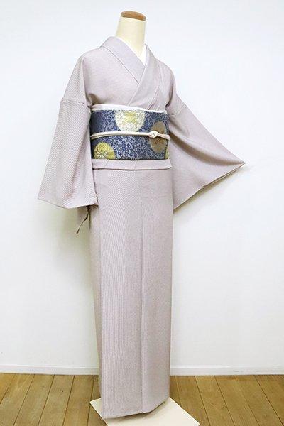 銀座【C-1886】単衣 江戸小紋 鳩羽鼠色 万筋(反端付)(N)