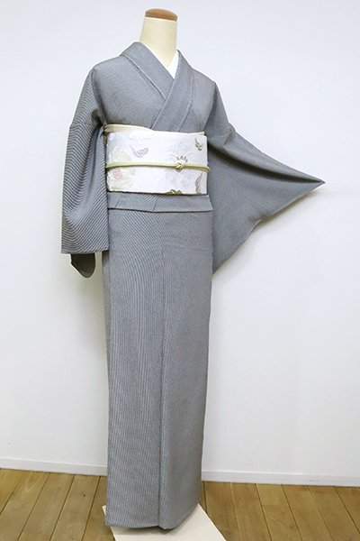 あおき【C-1889】単衣 江戸小紋 黒色 万筋(反端付)(N)