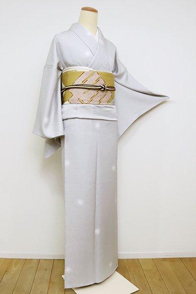 銀座【D-2519】単衣 小紋 白鼠色 蛍暈かし(反端付)(N)