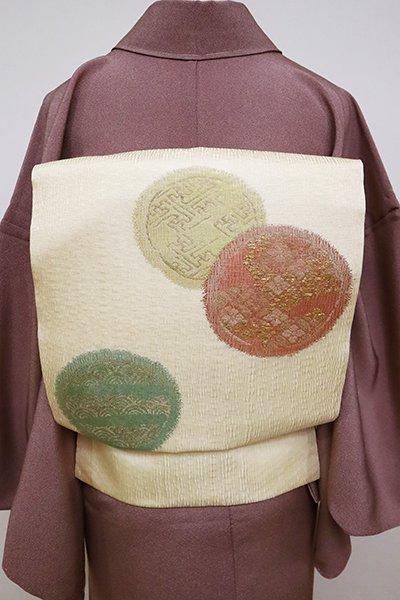 あおき【K-6781】夏 櫛織り 名古屋帯 薄香色 丸文