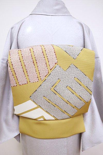 銀座【K-6783】塩瀬 染名古屋帯 黄土色 源氏香の図