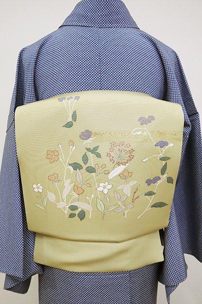 あおき【K-6785】塩瀬 染名古屋帯 蒸栗色 花の図