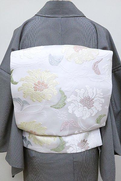 銀座【K-6786】西陣製 織名古屋帯 白色 牡丹唐草文(証紙付・長尺)(N)