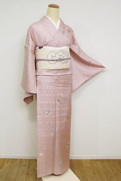 あおき【B-2592】(細め)単衣 刺繍 付下げ 薄柿色 雪輪に四季花文