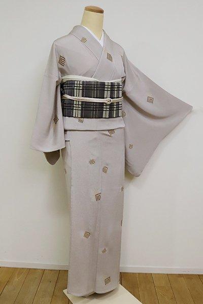銀座【D-2521】(S)単衣 縮緬地 小紋 素色 源氏香の図
