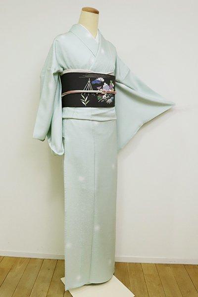 銀座【D-2522】単衣  小紋 青磁鼠色 蛍暈かし(反端付)(N)