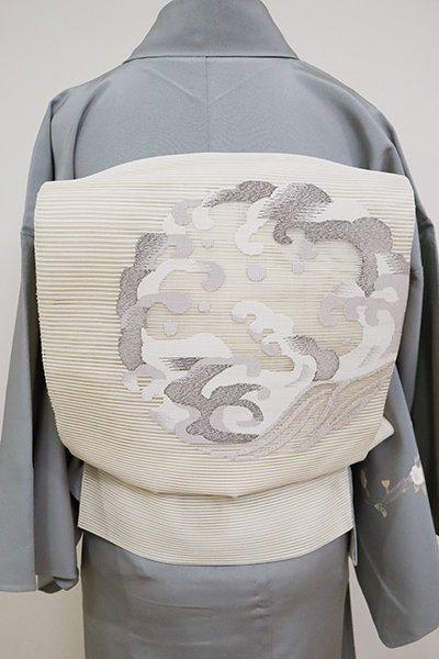 銀座【L-5106】絽綴れ 袋帯 生成り色 波の丸文