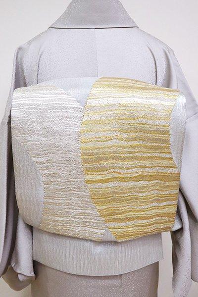 銀座【L-5107】夏 袋帯 銀色 抽象文