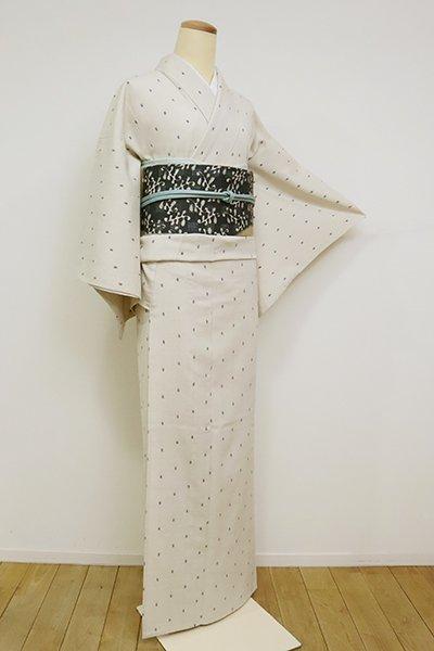 【A-3101】単衣 結城縮  「今幡部」 灰白色 幾何文(反端付・青山みとも扱い)