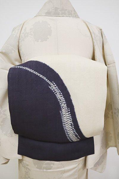 銀座【K-6792】生紬地 染名古屋帯 練色×青褐色 抽象文
