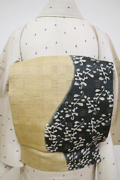 銀座【K-6795】絽麻 染名古屋帯 枯色×黒緑色 流線に植物文