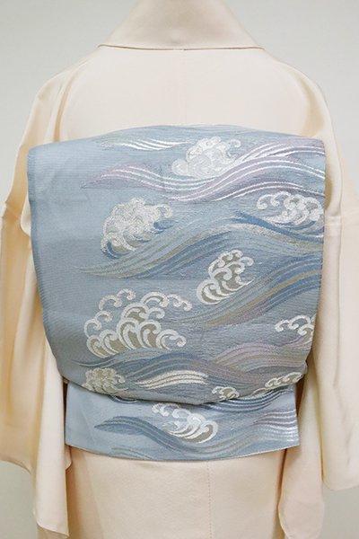 銀座【L-5108】絽 袋帯 淡い藍鼠色 波文
