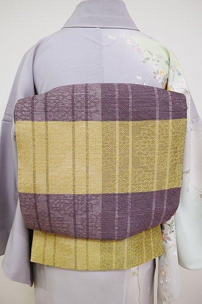 あおき【L-5109】夏 洒落袋帯 葡萄鼠色×金色 横段に華文