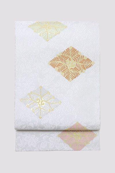 銀座【帯3352】西陣 山口美術織物製 袋帯 銘「唐花地松菱文」