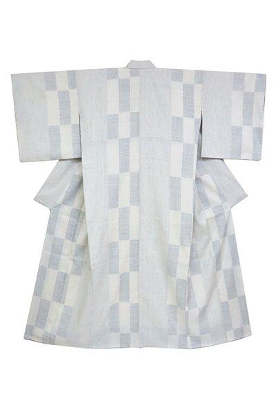 銀座【着物2766】本場結城紬 生成色 縞に亀甲 幾何文