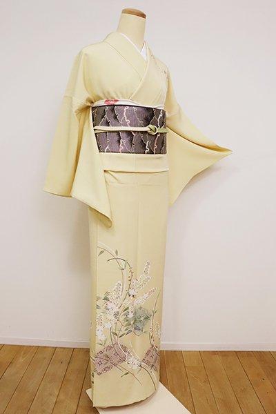 あおき【B-2600】松本健一作 京友禅 単衣 訪問着 蒸栗色 草花に菱文(落款入)
