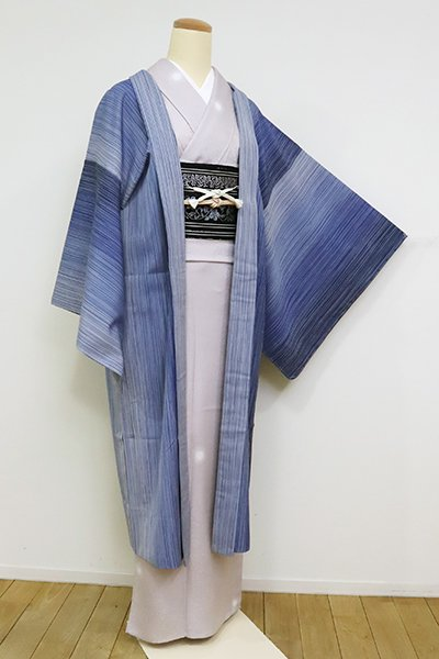 銀座【E-1234】渡源織物製 薄物 羽織 深縹色 暈かし縞(反端付)