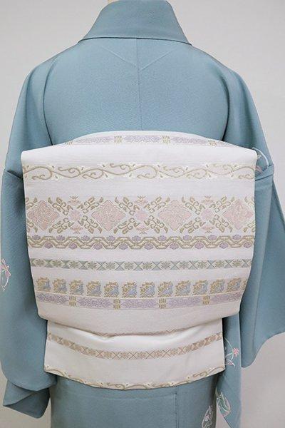 銀座【K-6798】織名古屋帯 白色 装飾文の横段
