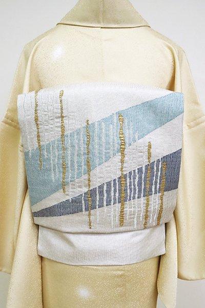 銀座【K-6799】夏 櫛織 名古屋帯 白鼠色 抽象文