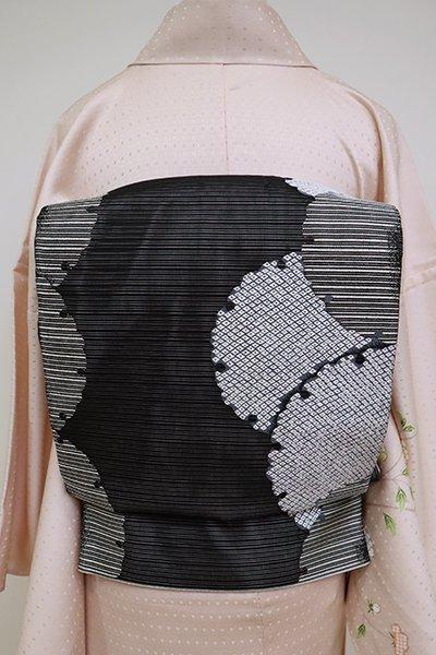 あおき【L-5111】絽 袋帯 黒色 雪輪文
