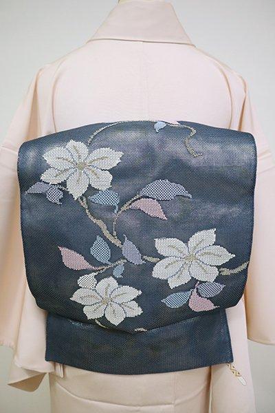 あおき【L-5112】紗合わせ 袋帯 鉄御納戸色 花木の図