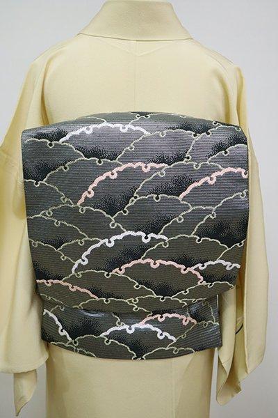 銀座【L-5113】西陣 川島織物製 絽 本袋帯 黒色 雪輪青海波(落款入)