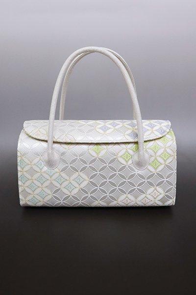【G-1599】京都衿秀 かぶせ蓋 和装バッグ 白練色 七宝文