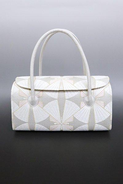 【G-1600】京都衿秀 かぶせ蓋 和装バッグ 白練色 幾何文