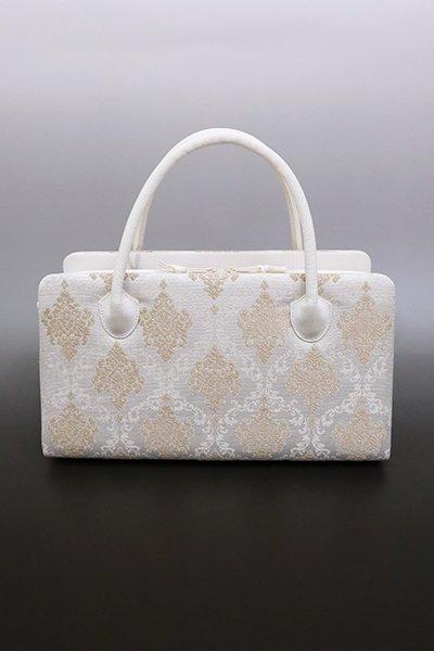 【G-1601】京都衿秀 利休バッグ 白練色×伽羅色 欧風装飾文
