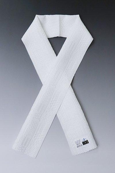 【G-1611】京都 衿秀製 ウォッシャブル正絹半衿 白色 割付石畳文