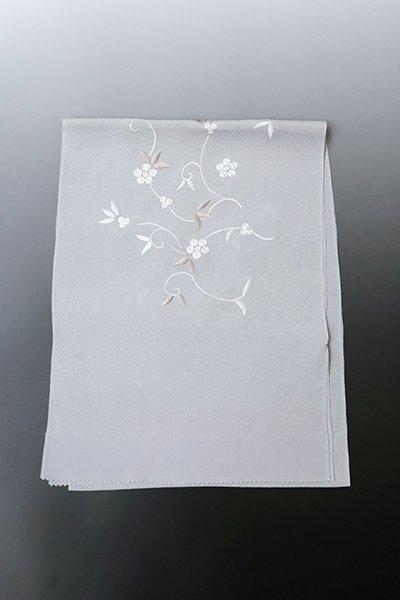 【G-1620】京都衿秀 縮緬地刺繍 帯揚げ 白鼠色 笹蔓文