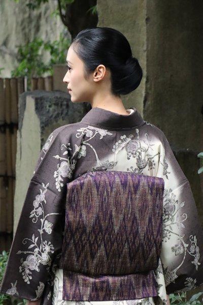 銀座【帯3357】西陣 渡文製 洒落袋帯「波衣」 (反端証紙付)