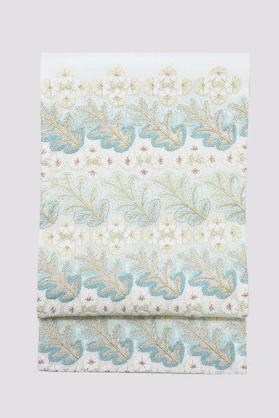 銀座【帯3358】総刺繍 袋帯 象牙色 花葉の図