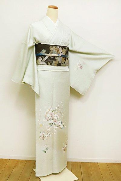 銀座【B-2601】単衣 付下げ 白緑色 雪輪に四季花の図