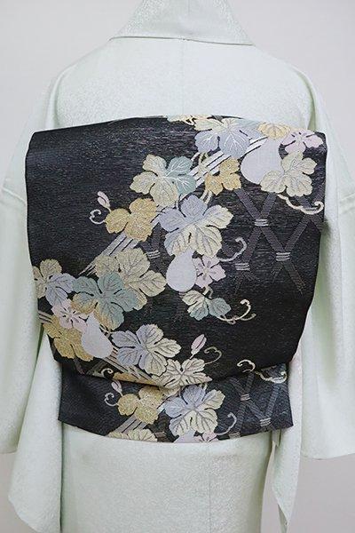 あおき【L-5114】西陣製 紗 袋帯 黒色 垣根に瓢箪の図(証紙付)(N)
