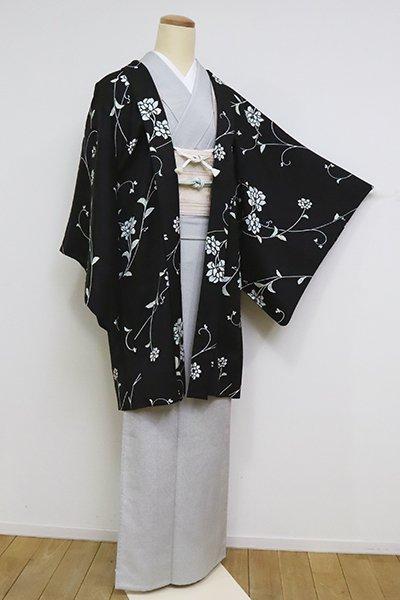 あおき【E-1235】単衣 羽織 黒色 花唐草文