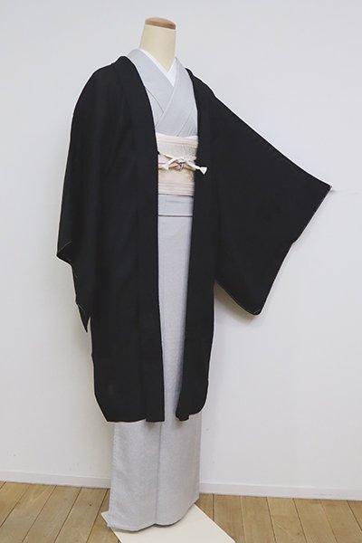あおき【E-1236】寿光織 薄物羽織 黒色 葡萄の図(反端付)