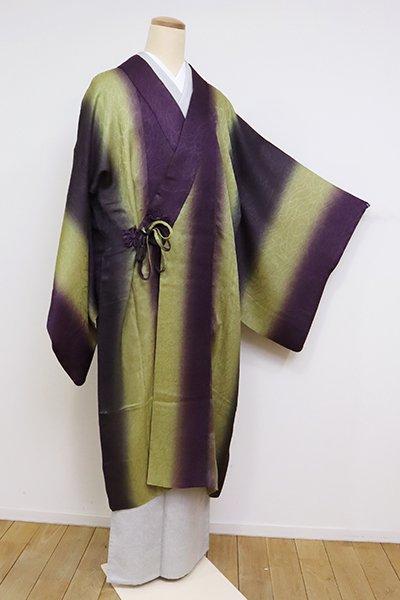 あおき【E-1239】紋紗 道中着 似せ紫色×抹茶色 竪暈かし