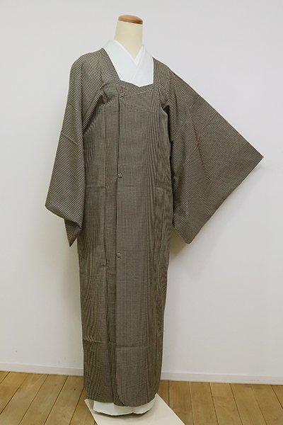 あおき【E-1240】(細め)薄物コート 枯色×黒色 小格子(青山八木扱い・畳紙・共布袋付き)
