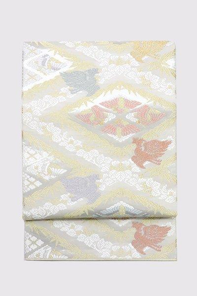 銀座【帯3369】西陣 山口美術織物製 袋帯「菱取桐竹鳳凰文」
