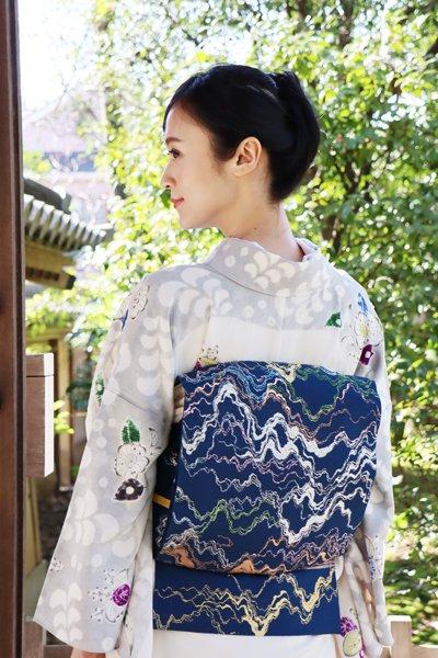 銀座【帯3379】龍村平蔵製 紗 本袋帯 銘「水衣錦」