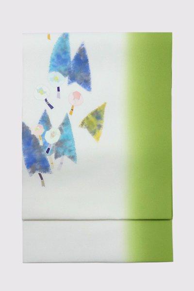 銀座【帯3382】日本工芸会正会員 木原明作 塩瀬地染名古屋帯 (反端付・落款入)