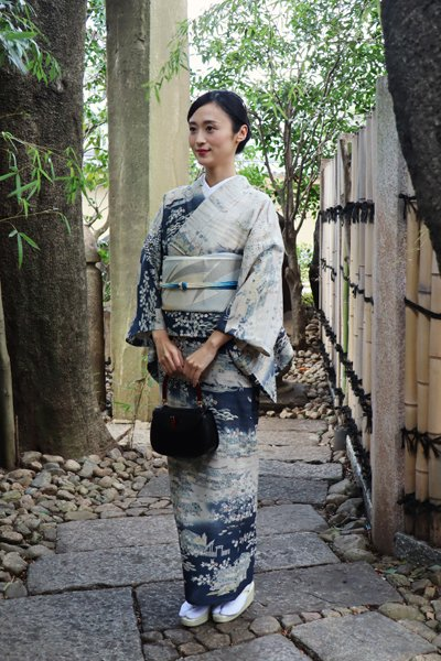 銀座【着物2784】京都しょうざん製 単衣 生紬地訪問着